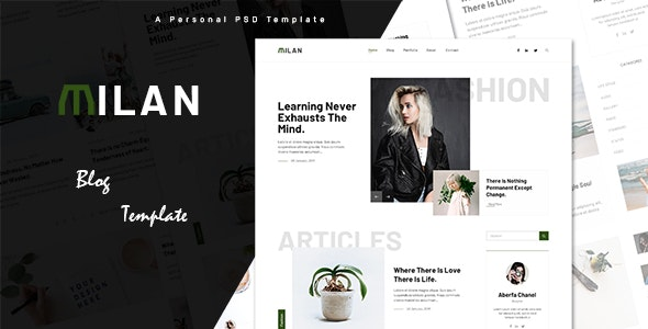 Milan - Ultimate Personal Blog PSD Template - Personal Photoshop