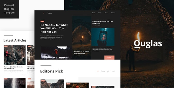 Outglas - A Personal Blog PSD Template - Personal Photoshop