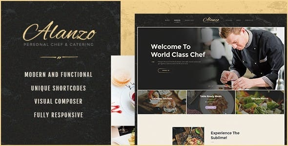 Alanzo | Personal Chef & Catering WordPress Theme - Restaurants & Cafes Entertainment