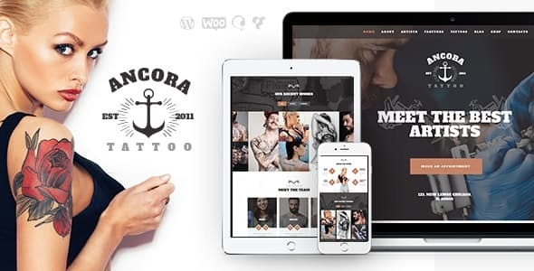 Ancora | An Urban Tattoo Salon and Ink Shop WordPress Theme - Health & Beauty Retail