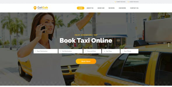 GetCab | Online Taxi Service WordPress Theme