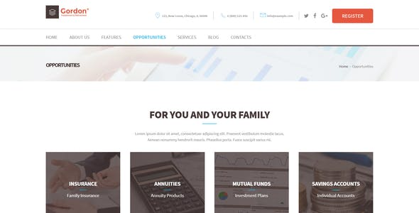Gordon Investments and Insurance Company WordPress Theme