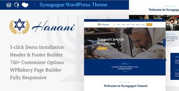 Hanani | Jewish Community & Synagogue WordPress Theme - Churches Nonprofit