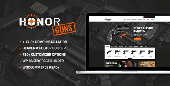 Honor   Shooting Club & Weapon Store WordPress Theme