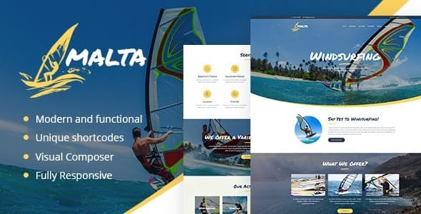 Malta - Windsurfing, Kitesurfing & Wakesurfing Center WordPress Theme - Travel Retail