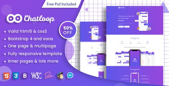Chatloop - HTML App Landing Page - Software Technology