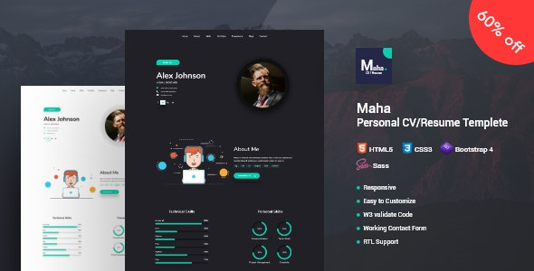 Maha CV/Resume - Resume / CV Specialty Pages