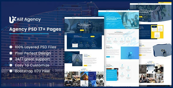Alif - Business Agency PSD Template - Portfolio Creative