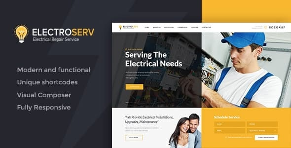 ElectroServ   Electrical Repair Service WordPress Theme - Business Corporate