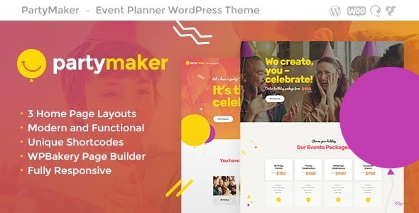 PartyMaker | Event Planner & Wedding Agency WordPress Theme - Events Entertainment