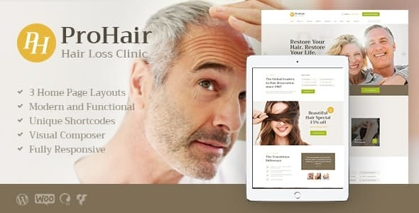 ProHair | Hair Loss Clinic & Cosmetology WordPress Theme - Health & Beauty Retail