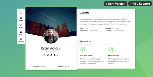 Ryan - CV / Resume / vCard Template by beshleyua