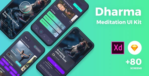 Meditation UI Kit - Sketch Templates