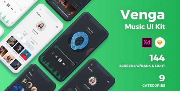 Venga - Music UI Kit - Sketch UI Templates