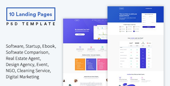 JOBE - Startup & SaaS Landing Pages PSD Template - Marketing Corporate