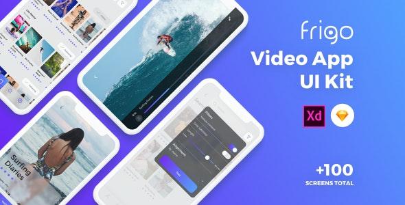Frigo - Video App UI Kit - Sketch UI Templates