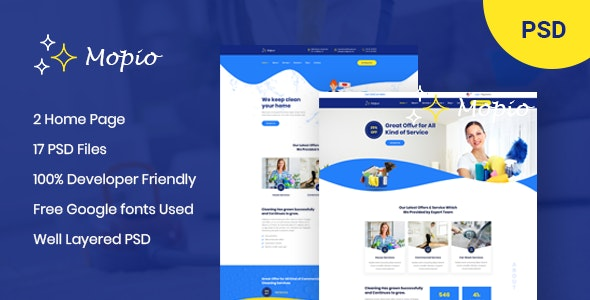 Mopio - On Demand Cleaning Service PSD Template - Business Corporate