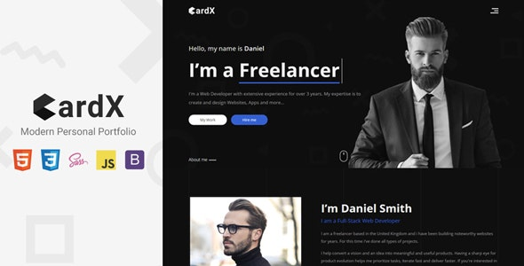 CardX - Modern Personal Portfolio Template - Personal Site Templates