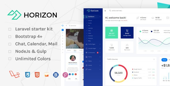 Horizon - Laravel + Bootstrap 4 Admin Dashboard Template - Admin Templates Site Templates
