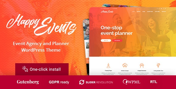 Happy Events - Holiday Planner & Event Agency WordPress Theme - Events Entertainment