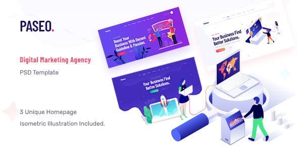 Paseo - Search Engine Optimization & Digital Marketing Agency PSD Template - Marketing Corporate