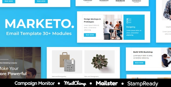 Marketo - Multipurpose Responsive Email Template 30+ Modules - StampReady + Mailster & Mailchimp - Newsletters Email Templates