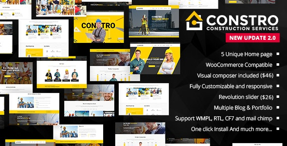Constro Construction Business WordPress Theme By