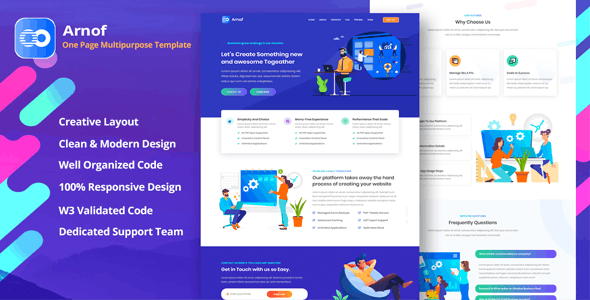 Arnof - OnePage Business Corporate & Startup Template