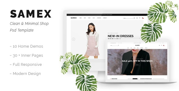 Samex - Clean, Minimal Shop PSD Template - Shopping Retail