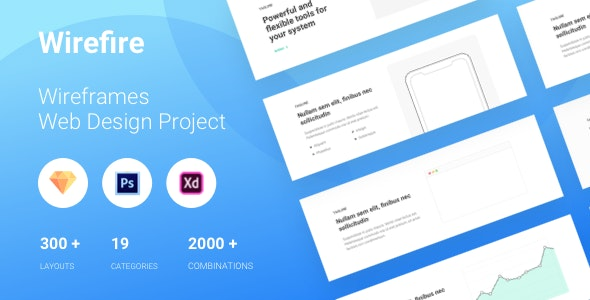Wirefire - Wireframe Kit Web Design - 300++ Sketch - XD