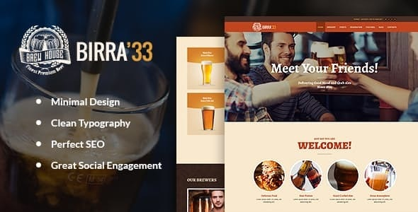 Birra33 - Brewery Brewpub and Craft Beer Shop WordPress Theme - Restaurants & Cafes Entertainment