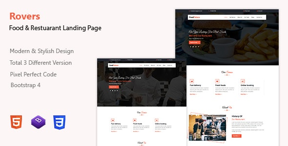 Rovers - Food & Restaurant Landing Page Template - Restaurants & Cafes Entertainment