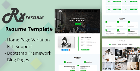 Rx-Resume Portfolio & Resume HTML5 Template - Resume / CV Specialty Pages
