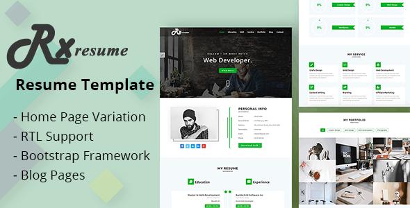 Rx-Resume Portfolio & Resume HTML5 Template