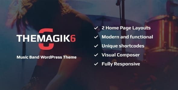 The Magic 6 - Music Band & Musician WordPress Theme - Music and Bands Entertainment