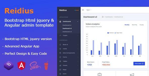 Reidius - Bootstrap 4 HTML + Angular Modern Admin Template + Crypto Dashboard - Admin Templates Site Templates