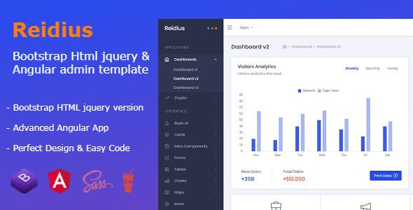Reidius - Bootstrap 4 HTML + Angular Modern Admin Template + Crypto Dashboard