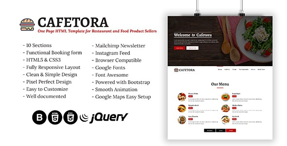 Cafetora - One Page HTML Template for Cafe, Restaurants and Food Seller - Restaurants & Cafes Entertainment