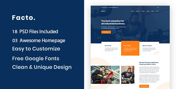 Facto - Industry & Factory Business PSD Template - Business Corporate