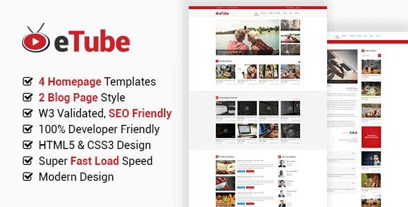 eTube - HTML5 Video Blog / Magazine / Entertainment Bootstrap 5 Template
