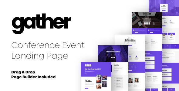 Gather - Conference Event Landing Pages with Page Builder - Marketing Corporate
