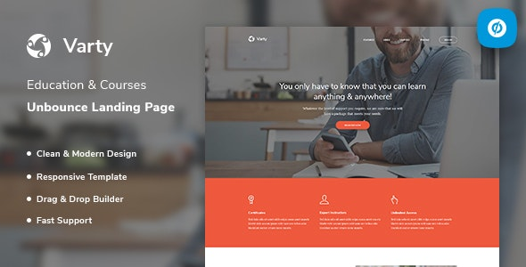 Varty - Education & Course Unbounce Landing Page Template - Unbounce Landing Pages Marketing