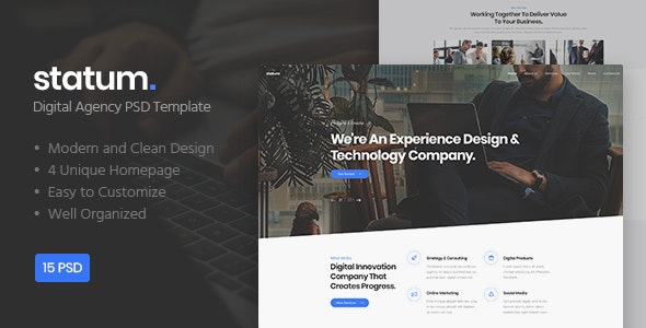 Statum - Digital Agency PSD Template - Corporate Photoshop