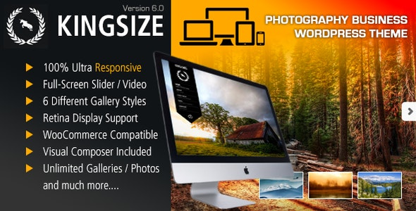 KingSize Fullscreen Photography Theme - Photography Creative