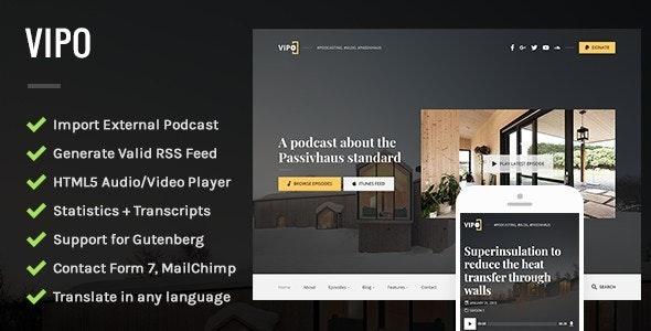Vipo - Audio / Video Podcast & Vlog WordPress Theme - Blog / Magazine WordPress