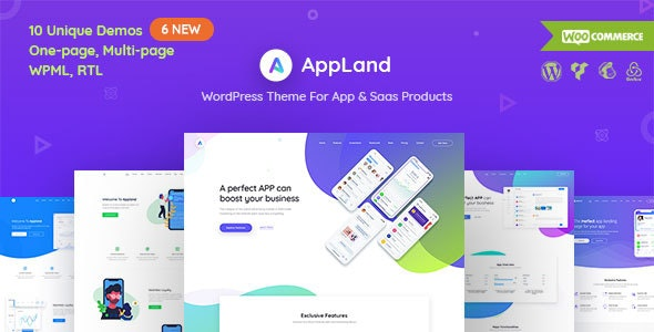 AppLand - WordPress Theme For App & Saas Products - Technology WordPress