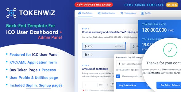 TokenWiz - ICO User Dashboard & ICO Admin Template