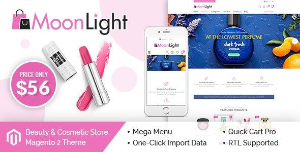 MoonLight - Elegant Cosmetics & Accessories Magento 2 Theme - Health & Beauty Magento