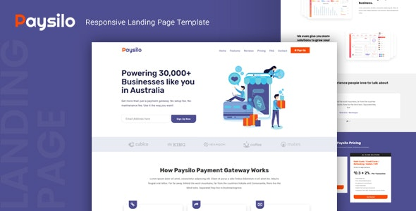 Paysilo — Responsive Landing Page Template - Creative Landing Pages