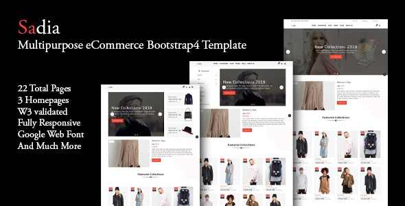 Sadia - Multipurpose eCommerce Bootstrap4 Template - Shopping Retail